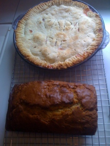rhubarb pie for grandpa leep's birthday & banana bread with chocolate chips and candied ginger