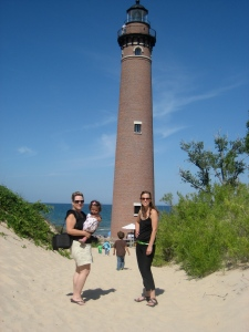 mom & my sister Rachel & her kids at a lighthouse on lake MI.