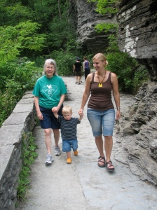 Reuben & I making our way down the trail with my mother in law