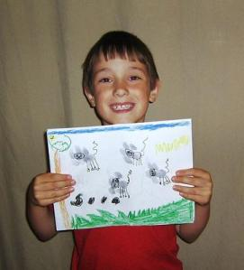 yay for artwork! Are these flying mice? cats? who knows, but this kid sure is happy.