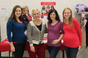 Hanging with some MOPS moms at our church's pictures with santa event. I am the only non-preggo in the picture!